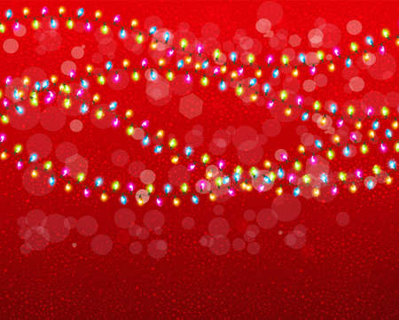 desember: Christmas background with colorful garlands. Vector.