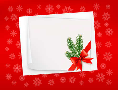 desember: Christmas red background with sheet of paper and red bow and ribbon. Vector.
