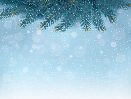 fir tree balls: Christmas background with fir branches. Vector illustration Illustration