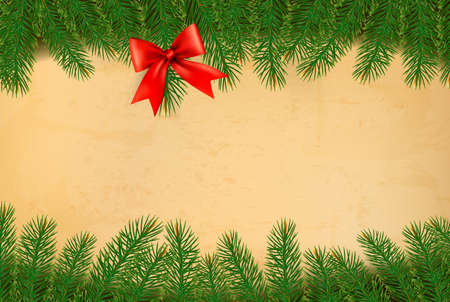 desember: Holiday background with christmas branches of tree and red bow. Vector