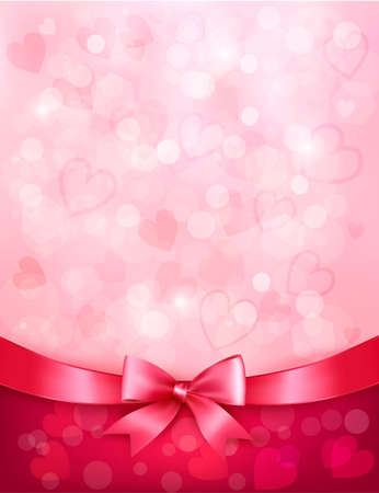 Holiday background with gift pink bow and ribbon  Valentines Day  Vector Illustration