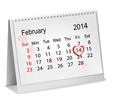 Calendar with hand written red heart  February 14 of Saint Valentines day  Vector illustration  Vector