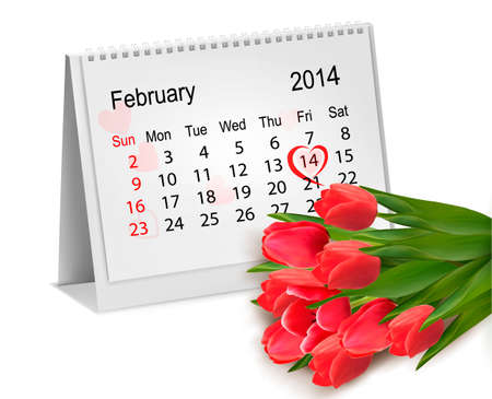 Calendar with hand written red heart. February 14 of Saint Valentines day.  Vector