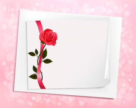 sheet of paper and a rose illustration. Vector