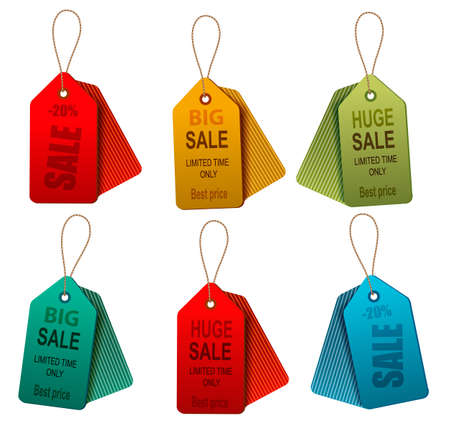 Set of colorrful sale tags. Concept of discount shopping. Vector illustration Vector