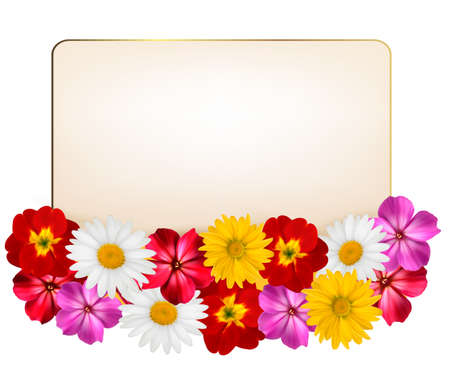 yellow daisy: Holiday background with a paper greeting card and flowers. Vector illustration