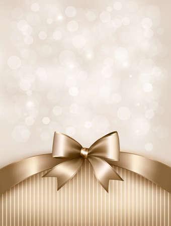 ギフトの光沢のある弓とリボンで休日金背景。