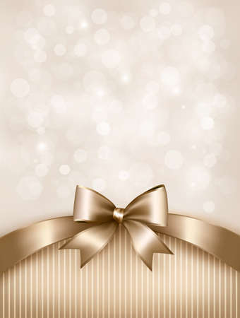 Holiday gold background with gift glossy bow and ribbon.