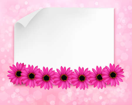 Holiday background with sheet of paper and flowers.  Vector