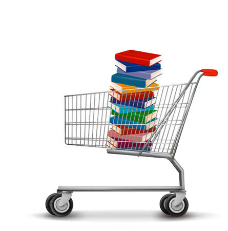 supermarket checkout: Shopping cart with a stack of books.  Illustration