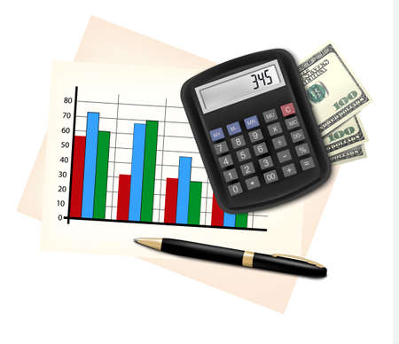Business concept with finance graphs, electronic calculator and money.  Vector