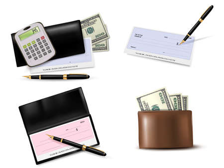 Big collection of business supplies. Vector