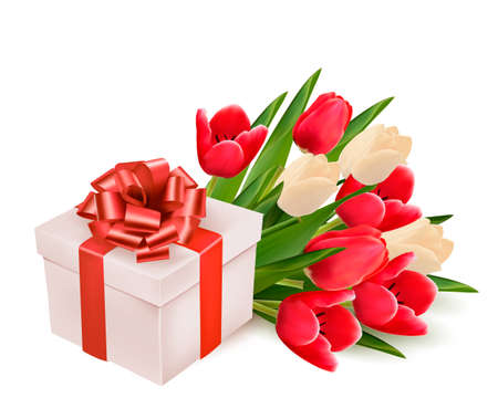 background with gift box and flowers.