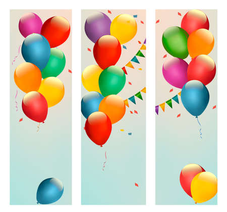 Retro holiday banners with colorful balloons and flags.  Vector