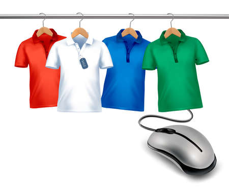 clothes hanger: Different hangers with shirts and a computer mouse. Concept of e-shopping and sale.  Illustration