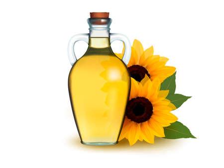 Bouteille d'huile de tournesol avec des fleurs.