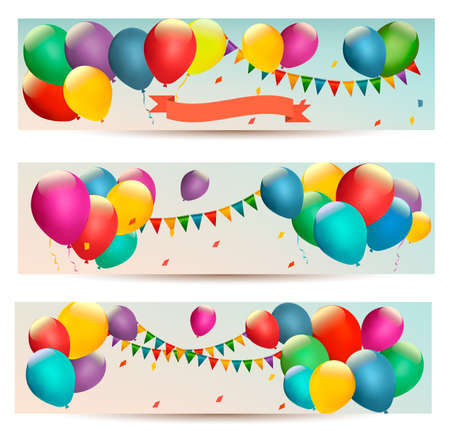party celebration: Holiday banners with colorful balloons.