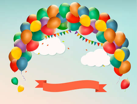 Retro holiday background with colorful balloons and a Happy Birthday ribbon. Vector. Vector