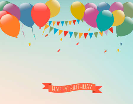 carnival background: Retro holiday background with colorful balloons and a Happy Birthday ribbon. Vector. Illustration