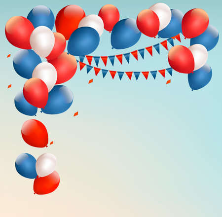 Retro holiday background with colorful balloons. Vector. Vector