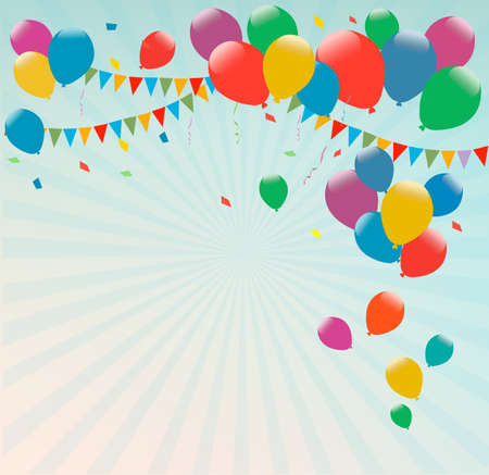 balloon: Retro holiday background with colorful balloons. Vector.