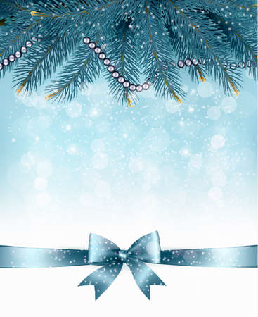Christmas background with  branches of tree and bow with ribbons. Vector. Illustration