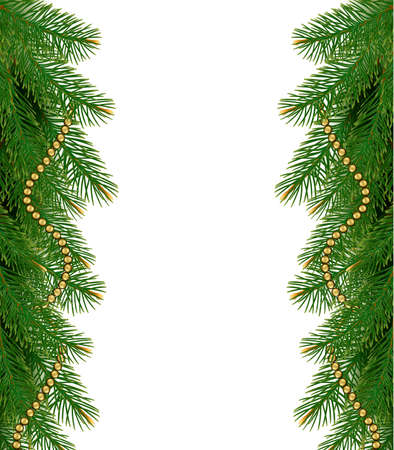 garland border: Christmas background with balls and branches. Vector illustration