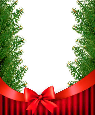 desember: Christmas background with  branches of tree and bow with ribbons. Vector. Illustration