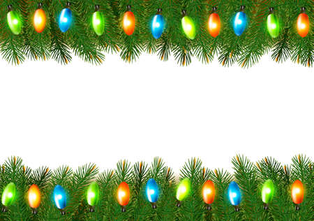 desember: Christmas background with colorful garland and fir branches Vector illustration Illustration