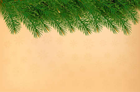 harland: Christmas background with  branches of tree and old paper. Vector.