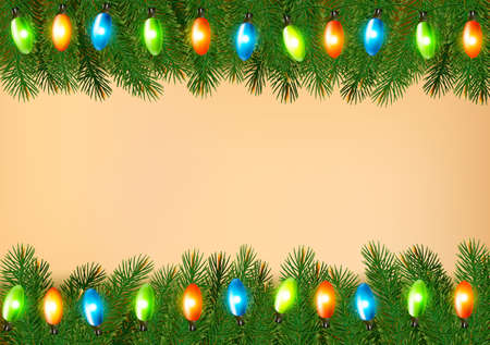 Christmas background with colorful garland and fir branches Vector illustration Illustration
