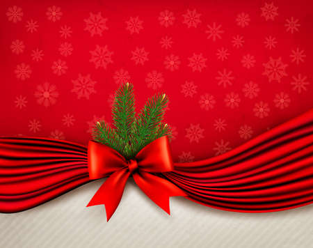 Chistmas holiday background with gift glossy bow and ribbons. Vector. Vector