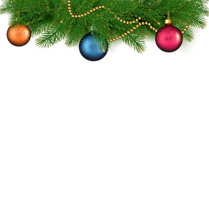 Christmas background with balls and branches. Vector illustration