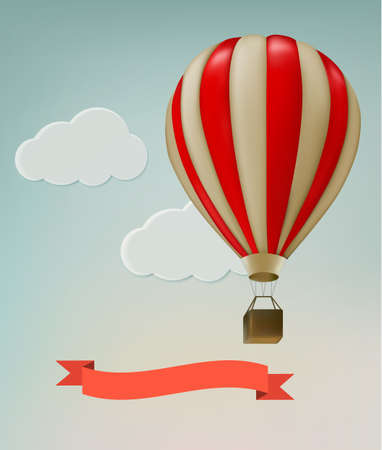 Retro background with colorful air balloons and clouds. Vector.