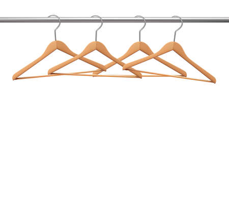 Coat hangers on a clothes rail. Vector Vector