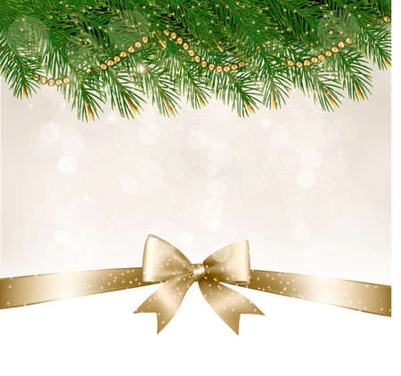 harland: Christmas background with  branches of tree and bow with ribbons. Vector. Illustration