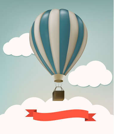 air balloon: Retro background with colorful air balloons and clouds. Vector.