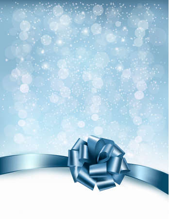 desember: Holiday background with gift glossy bows and ribbons. Vector Illustration