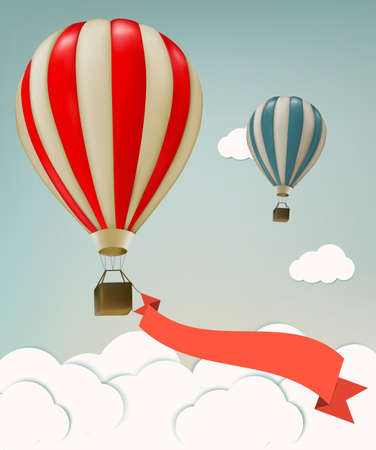 balloon: Retro background with colorful air balloons and clouds. Vector.