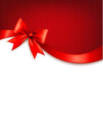 Holiday sfondo con il regalo fiocco rosso lucido e nastri. Vector. Archivio Fotografico - 33845915