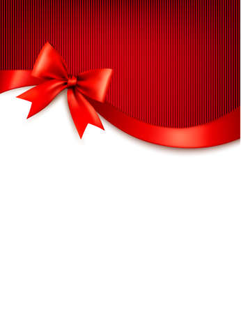 Holiday background with red gift glossy bow and ribbons. Vector.