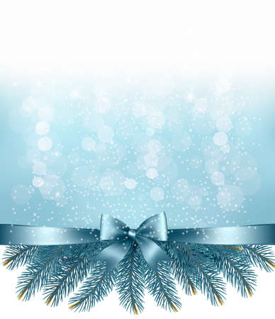 Winter snow and blue ribbon background. Vector. Illustration