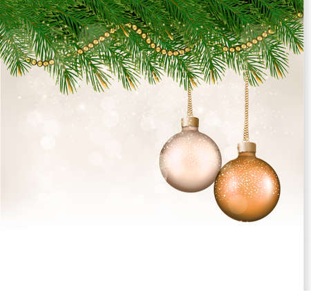 desember: Christmas background with balls and branches. Vector.
