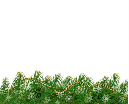 harland: Christmas background with balls and branches. Vector illustration