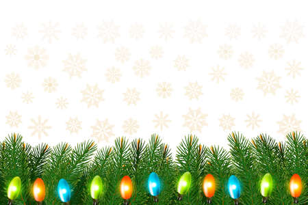 desember: Christmas background with colorful garland and branches Vector illustration