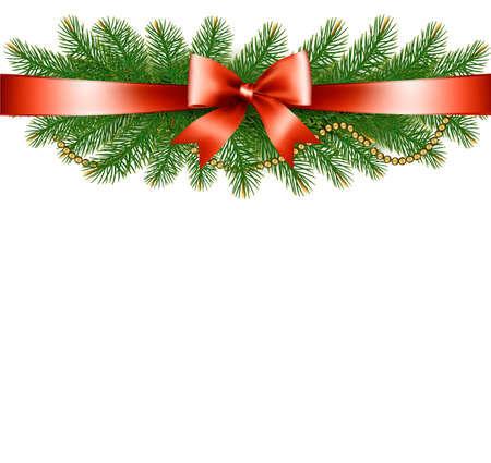 desember: Background with christmas tree branches and a red ribbon. Vector.