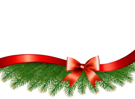 harland: Background with christmas tree branches and a red ribbon. Vector.