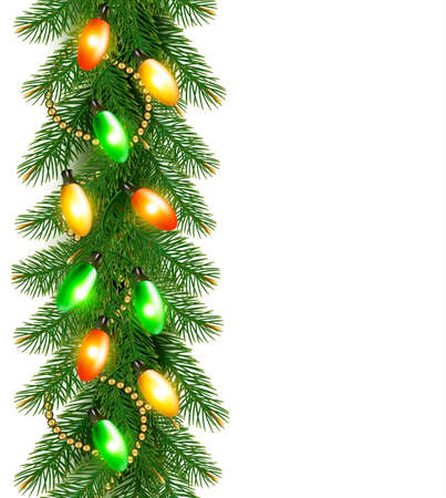 harland: Christmas background with colorful garland and fir branches Vector illustration Illustration