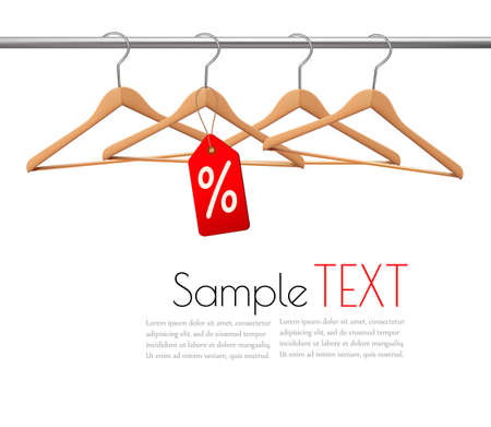 clothes rail: Coat hangers on a clothes rail. Discount promotion concept. Vector. Illustration