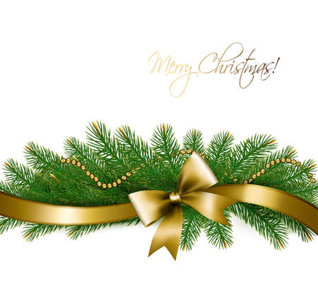 fir tree balls: Christmas background with christmas tree branches and gold ribbon.